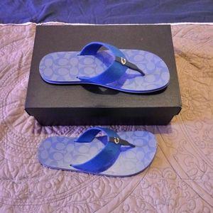Coach Zoe Webbed Flip Flops Sandals